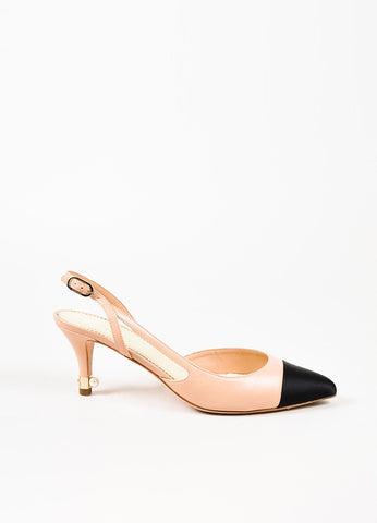 Chanel Nude and Black Leather Satin Cap Toe Pearl Accent Slingback Pumps Sideview
