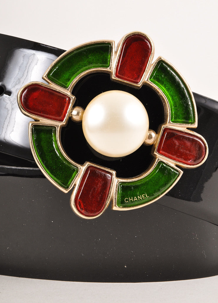 Black, Green, and Red Glass and Faux Pearl Gripoix Buckle Patent Leather Belt