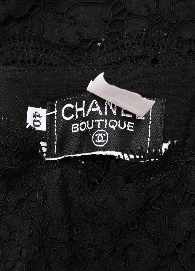 Chanel Black Lace Strapless Corset Top and Pencil Skirt Set Brand