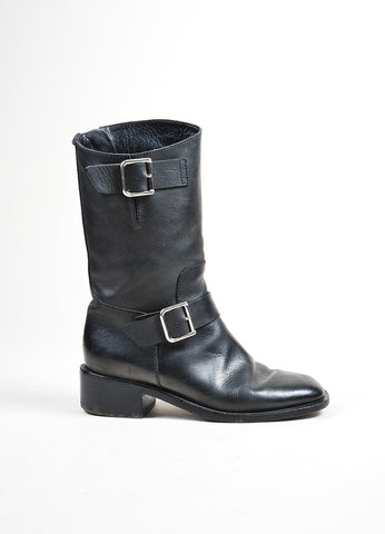 Black Leather and Silver Chanel 'CC' Harness Biker Boots Sideview