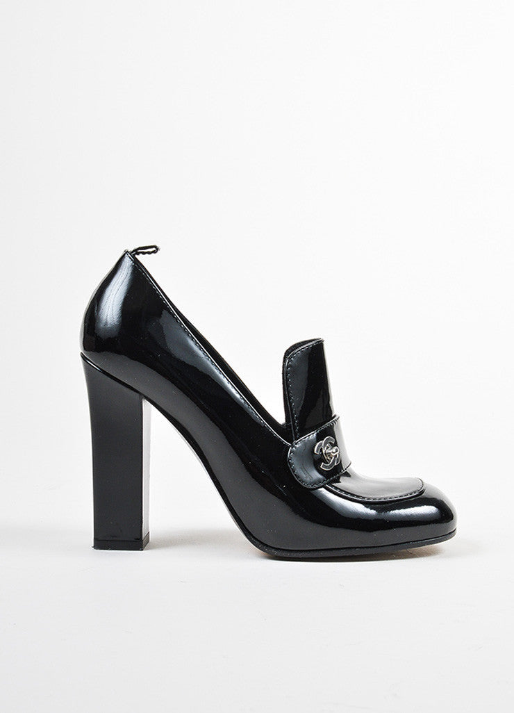 Black Chanel Patent Leather Block Heel Loafers Sideview