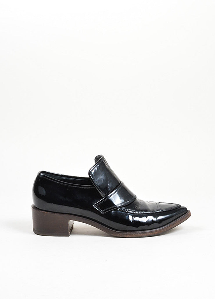 Black Chanel Patent Leather Pointed Toe Chunky Heel Loafers Sideview