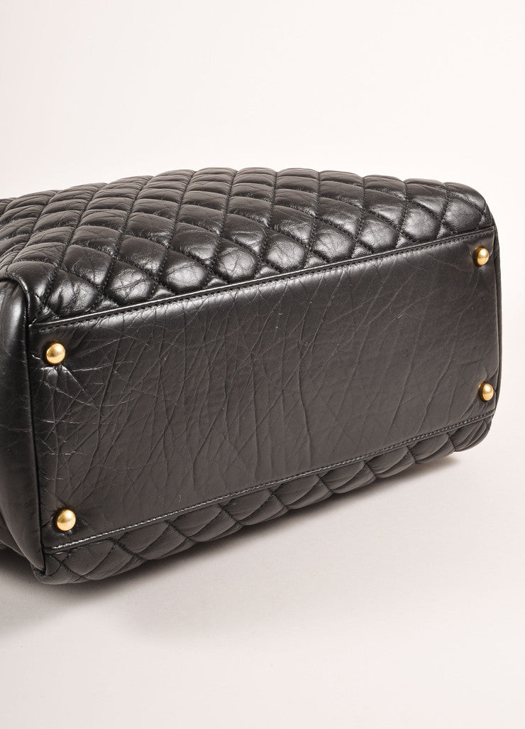 "Chanel Black Quilted Aged Calfskin ""CC"" Chain Shoulder Bag Bottom View"