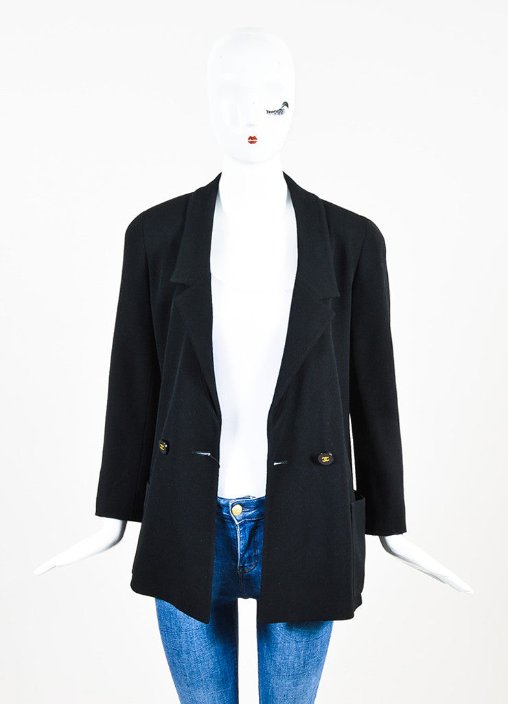 Chanel Black Twill Notch Lapel Double Breasted Blazer Frontview