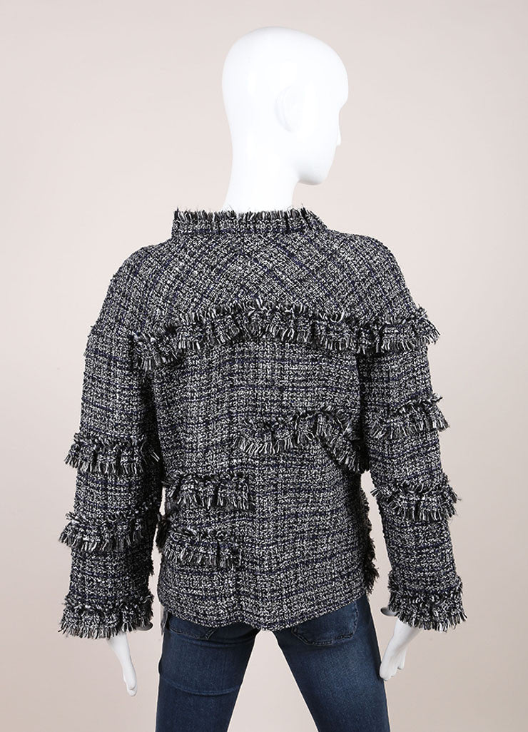 Chanel Black and White Boucle Fantasy Wool Tweed Jacket Backview