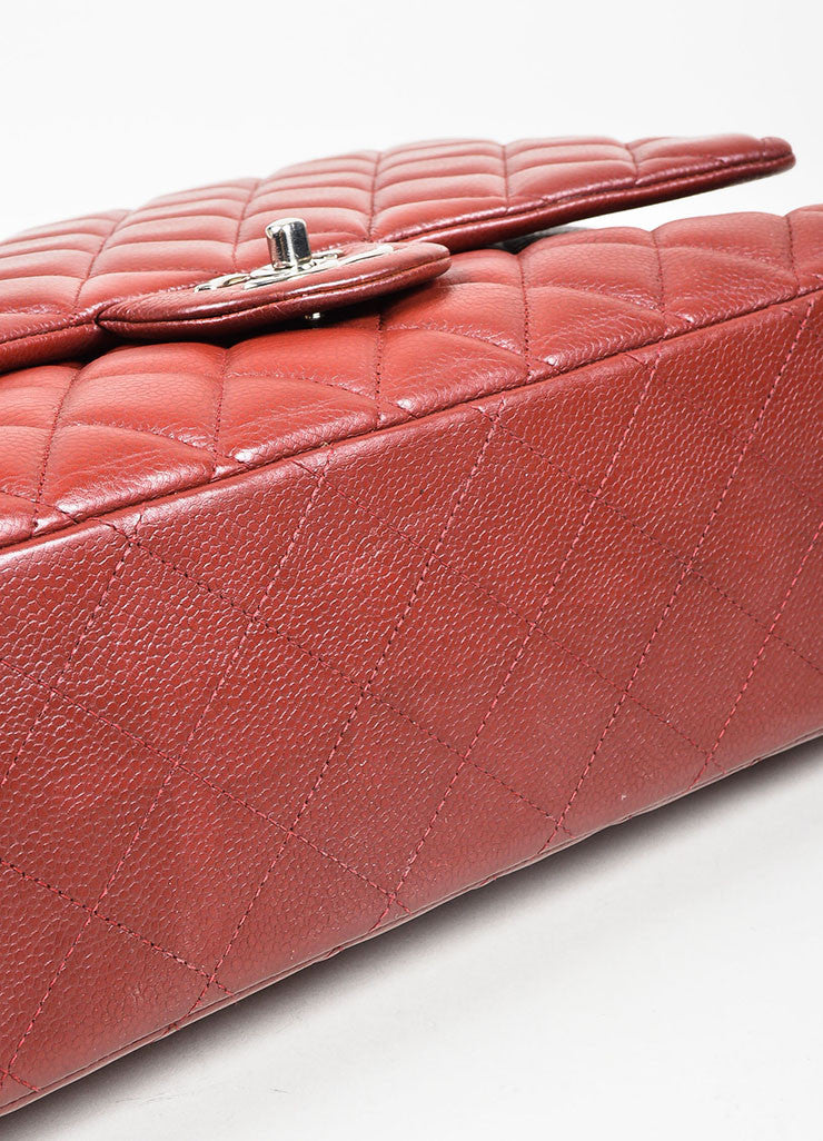 Dark Red Chanel SHW Quilted Soft Caviar Leather Classic Maxi Double Flap Bag Bottom View