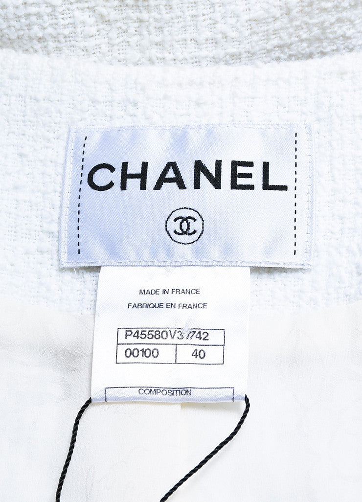 Chanel Grey and White Cotton and Silk Boucle Starred 'CC' Button Jacket Brand