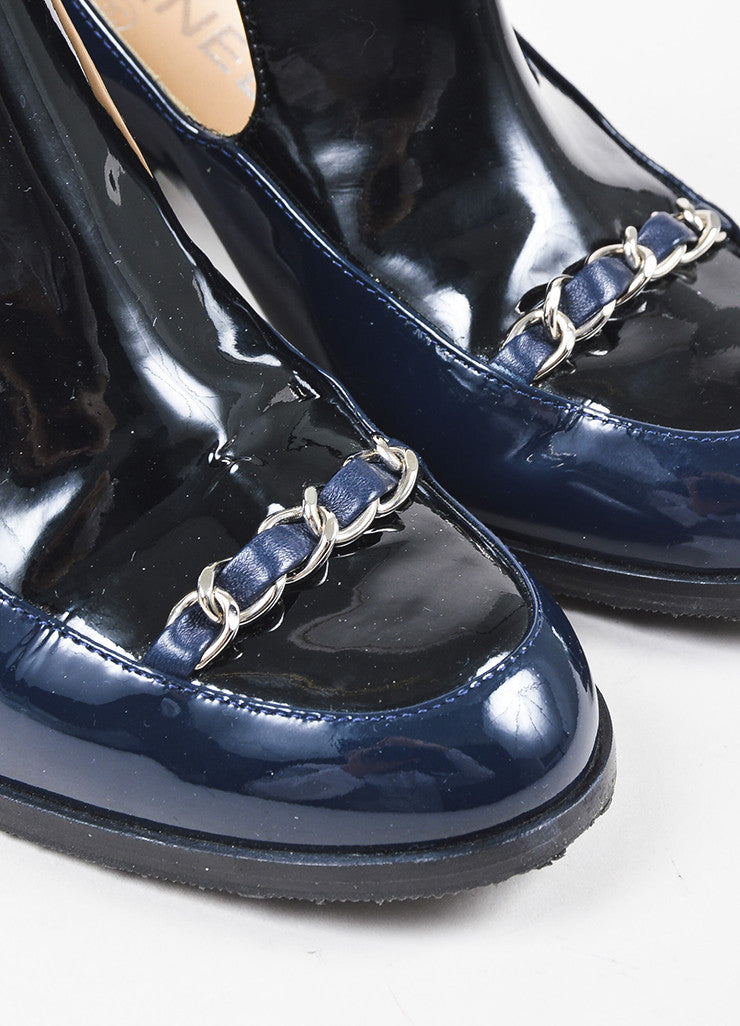 Chanel Navy Blue Patent Leather Silver Toned Chain Block Heel 'CC' Loafers Detail