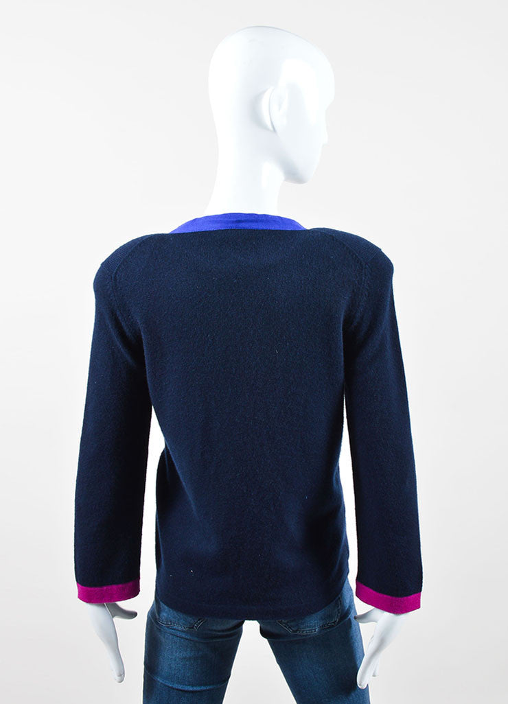 Navy and Fuchsia Cashmere Chanel Chain Tie Cardigan Backview