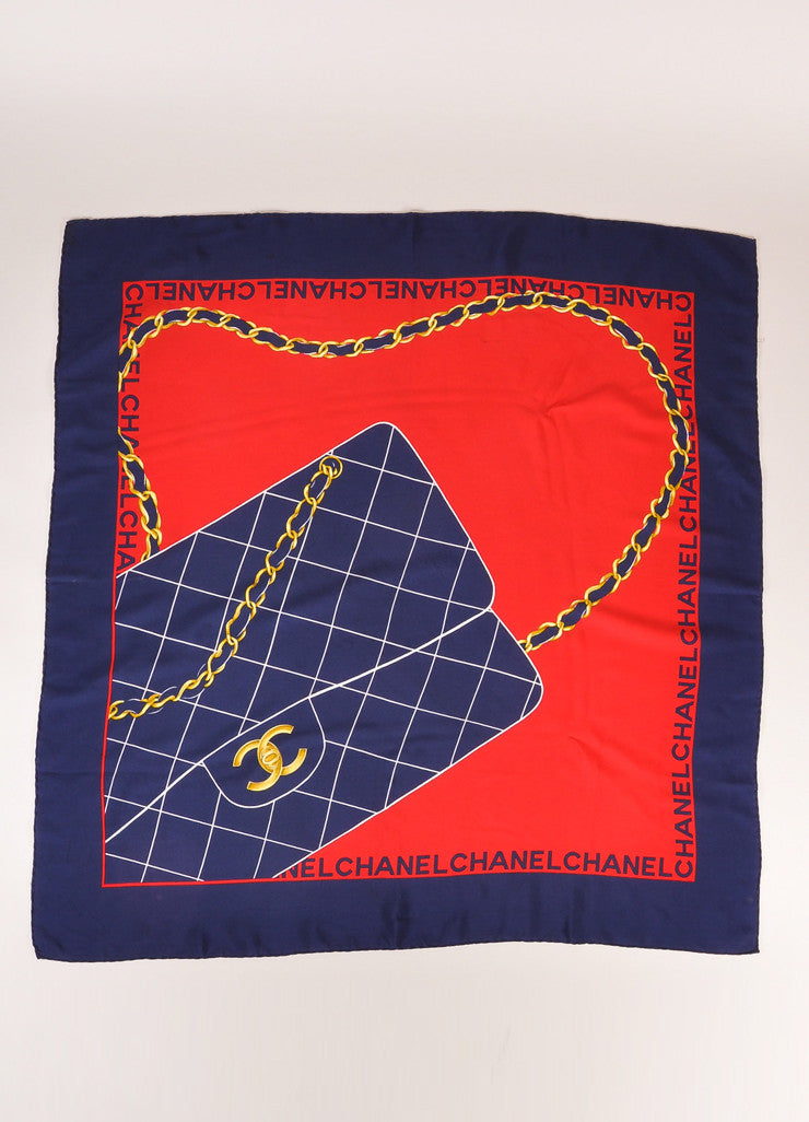 Chanel Navy, Red, and Gold Quilted Flap Bag Printed Silk Scarf Frontview 2