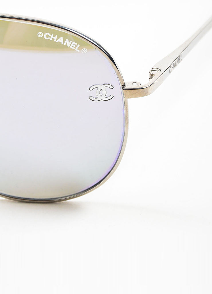 "Silver Toned and Purple Metal Chanel ""4189T"" Aviator Sunglasses Detail"