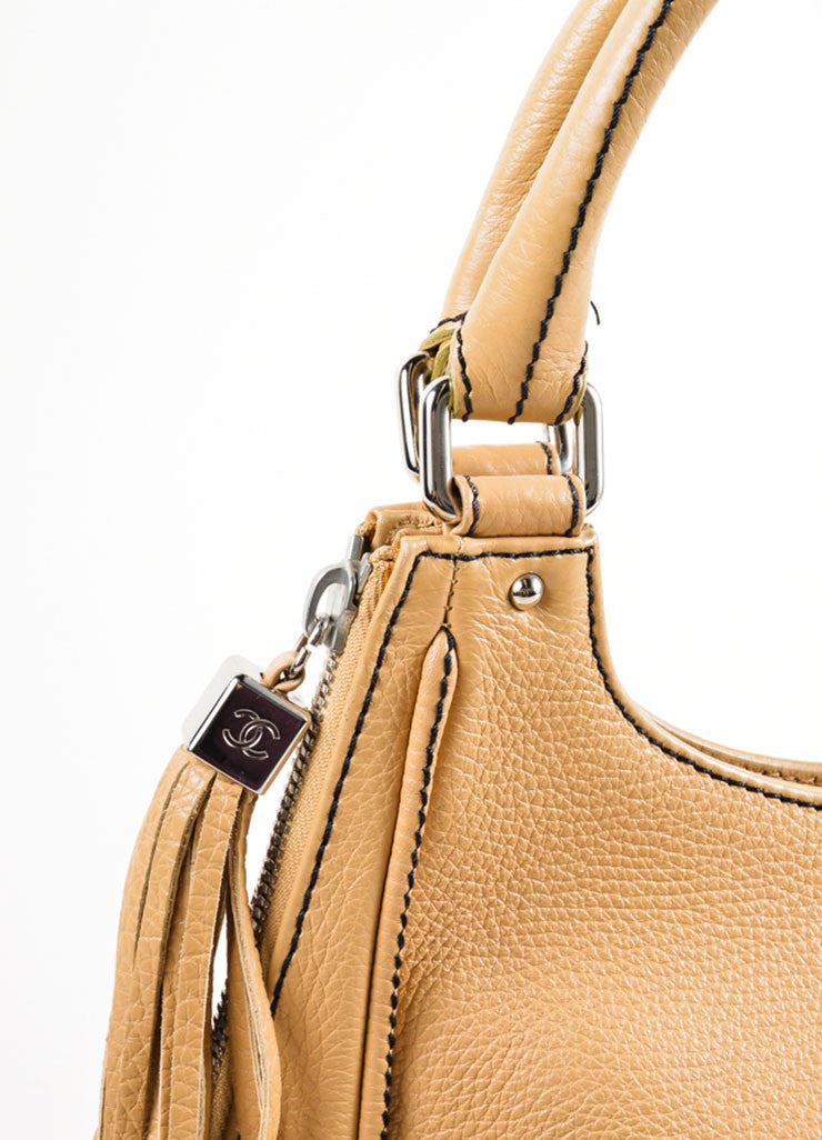 "Chanel Tan Grained Leather ""CC"" and Tassel Side Zip Medium Tote Bag Detail 2"