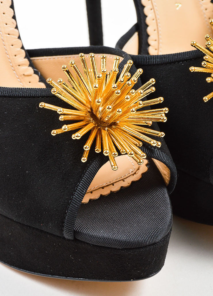 "Black and Gold Suede Charlotte Olympia ""Orbital Pomeline"" Sandals Detail"