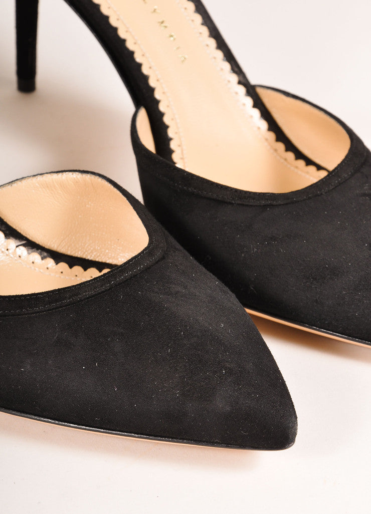 "Charlotte Olympia New In Box Black Suede Leather Web Back ""Aranea"" Pumps Detail"