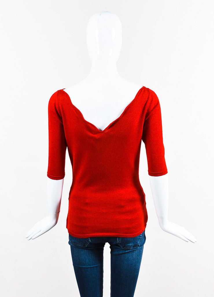 Red Christian Dior Cashmere Silk Knit Cropped Sleeve Top Back