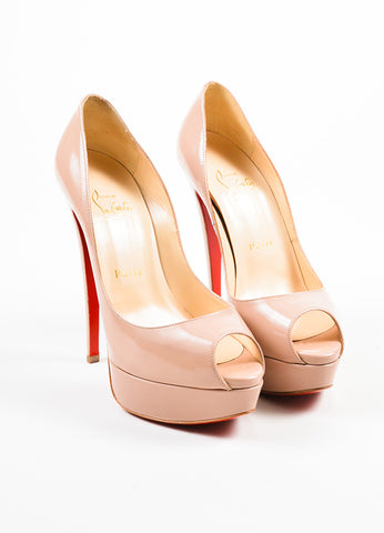 """Nude"" Beige Christian Louboutin Patent Leather ""Lady Peep"" Pumps Frontview"