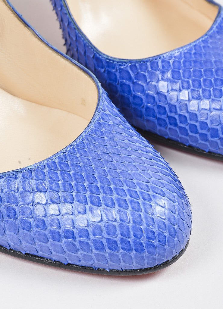 "Christian Louboutin Blue Python Round Toe ""Simple"" Pumps Detail"