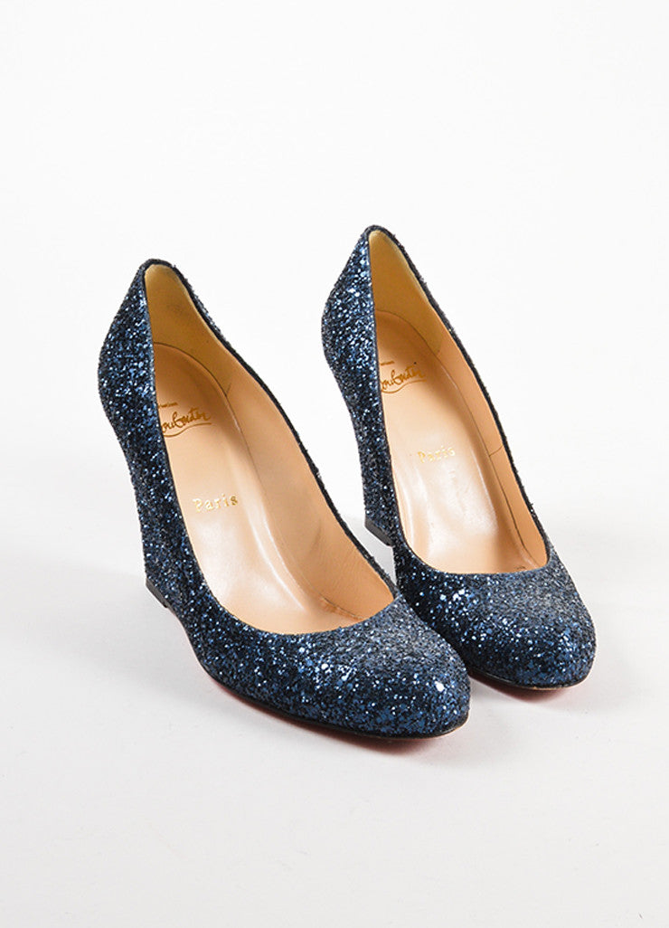 Christian Louboutin Navy Blue Glitter Round Toe Wedges Frontview