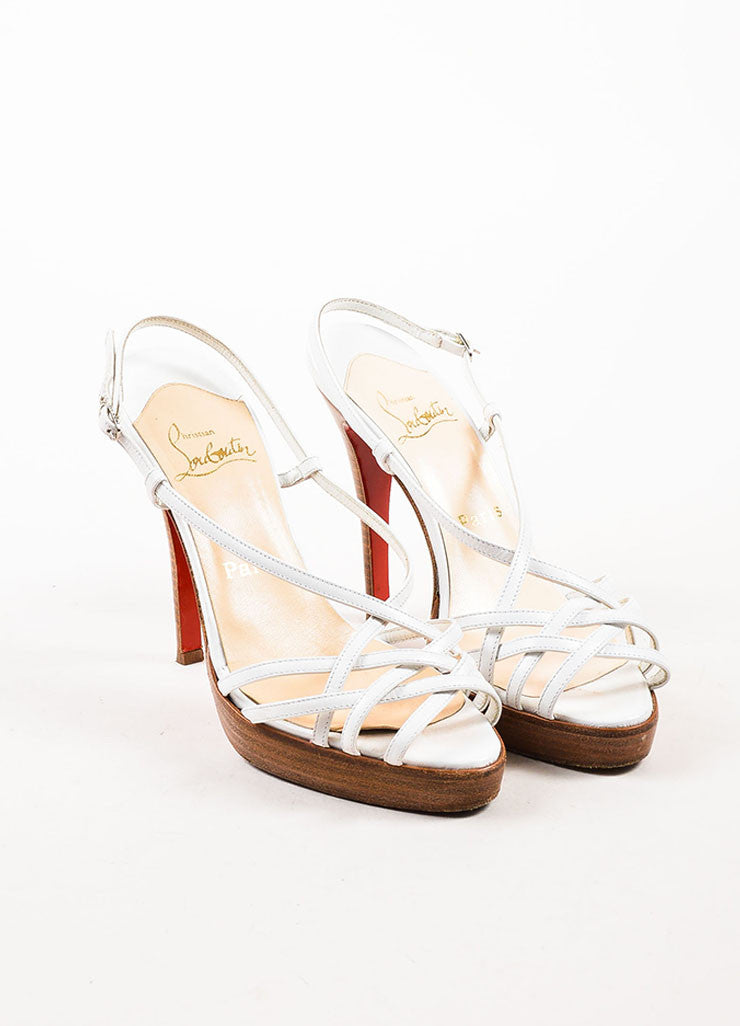 Christian Louboutin White Leather Strappy Sandal Heels Frontview