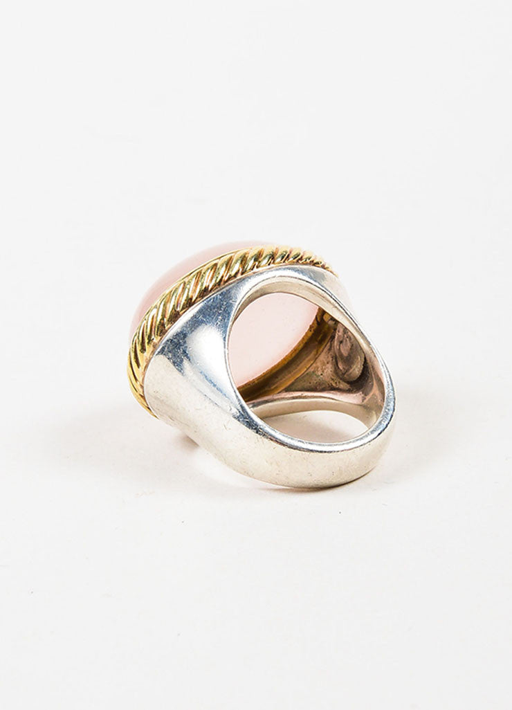David Yurman Sterling Silver, 18K Yellow Gold, and Rose Quartz Cocktail Ring Backview