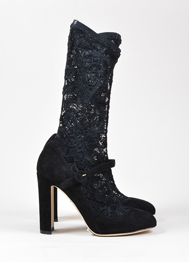 Black Dolce & Gabbana Suede Leather Lace Stocking Pumps Sideview