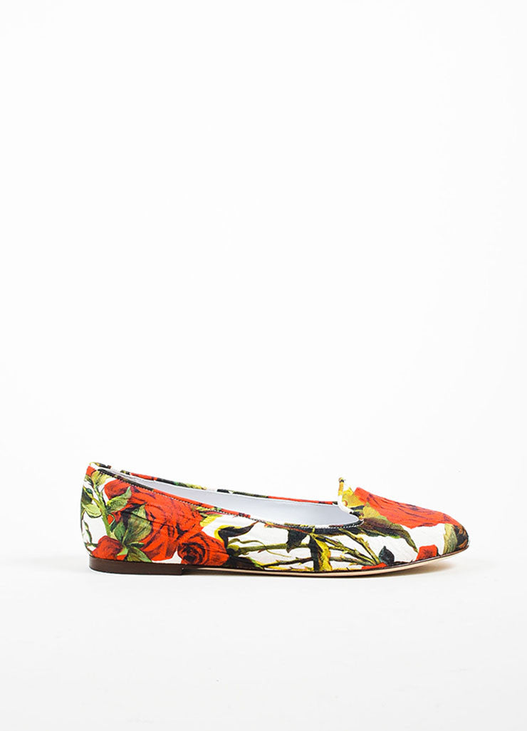 Red White Green Dolce & Gabbana Canvas Rose Print Flats Side