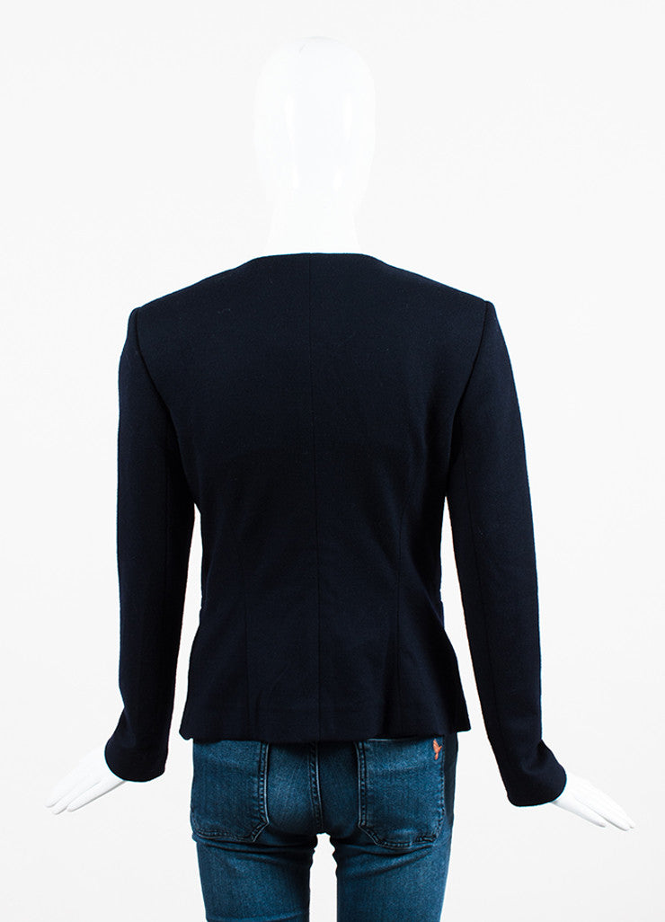 Fendi Navy Blue Fleece Wool Ruffled Cabochon Pin Collarless Zipped Jacket Backview