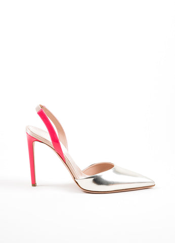 Silver and Pink Giambattista Valli Pointed Toe Slingback Pumps Sideview