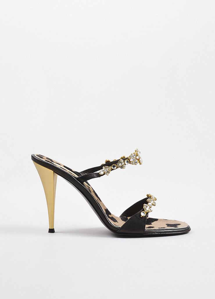 Giuseppe Zanotti Black Leather Crystal Embellished High Heel Sandals Sideview