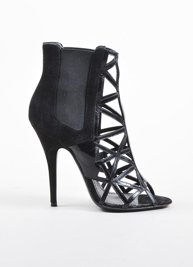 Givenchy Black Suede and Leather Elastic Panel Open Toe Caged Ankle Booties Sideview