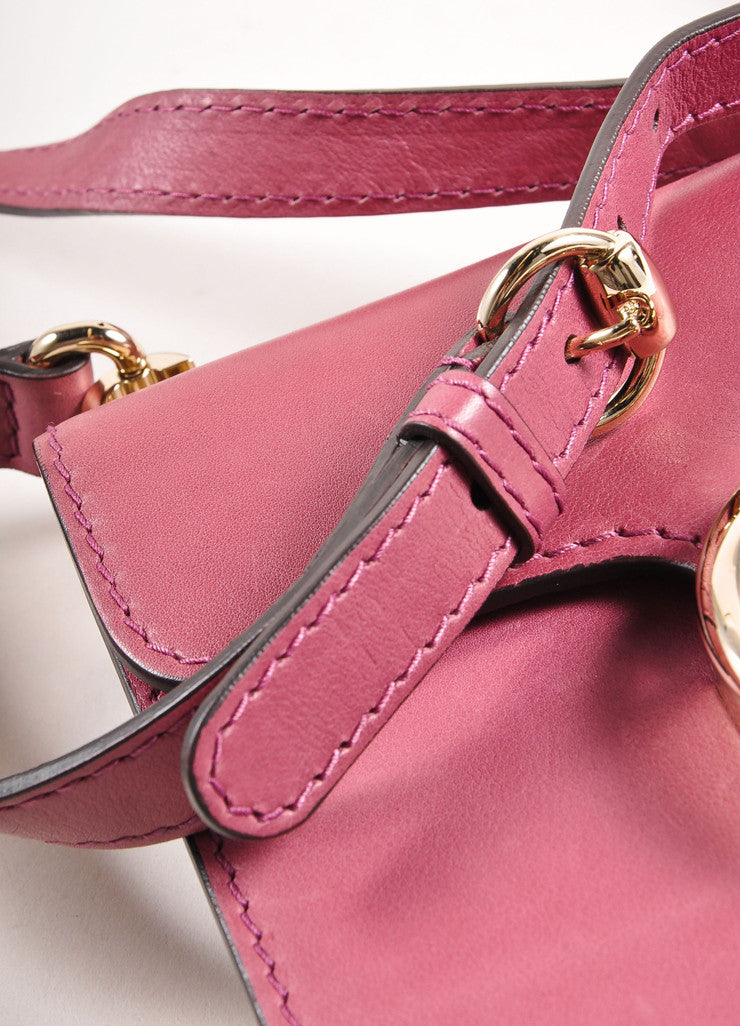Gucci Pink 'GG' Logo Clasp Leather Crossbody Flap Bag Detail 3