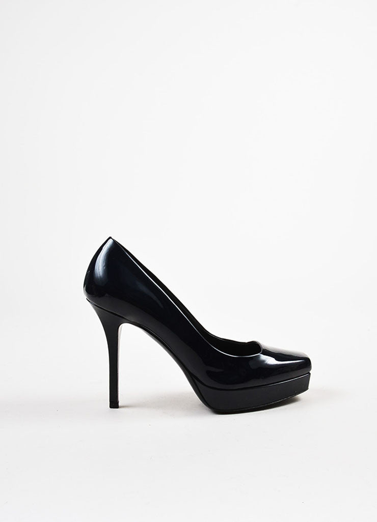 "Gucci ""Marine"" Navy Blue Leather Square Toe ""Tile"" Platform Pumps Sideview"