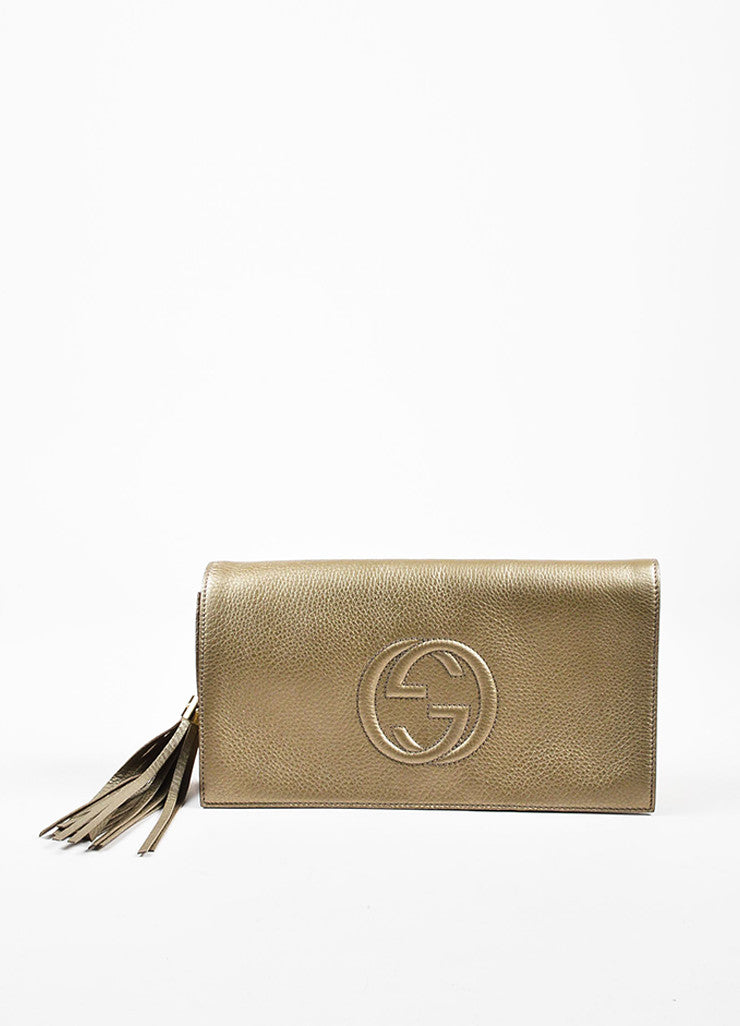 "Gucci Light Metallic Gold Pebbled Leather Fringe Tassel 'GG' ""Soho"" Clutch Bag Frontview"