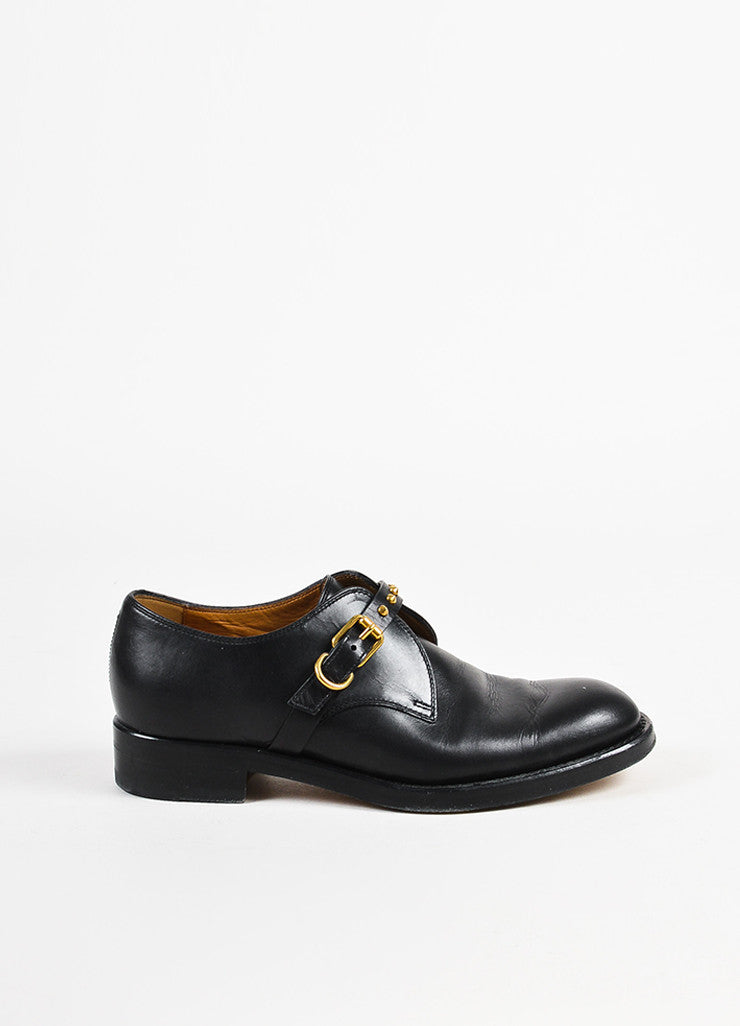 Gucci Black Leather Studded Round Toe Dress Shoes Side