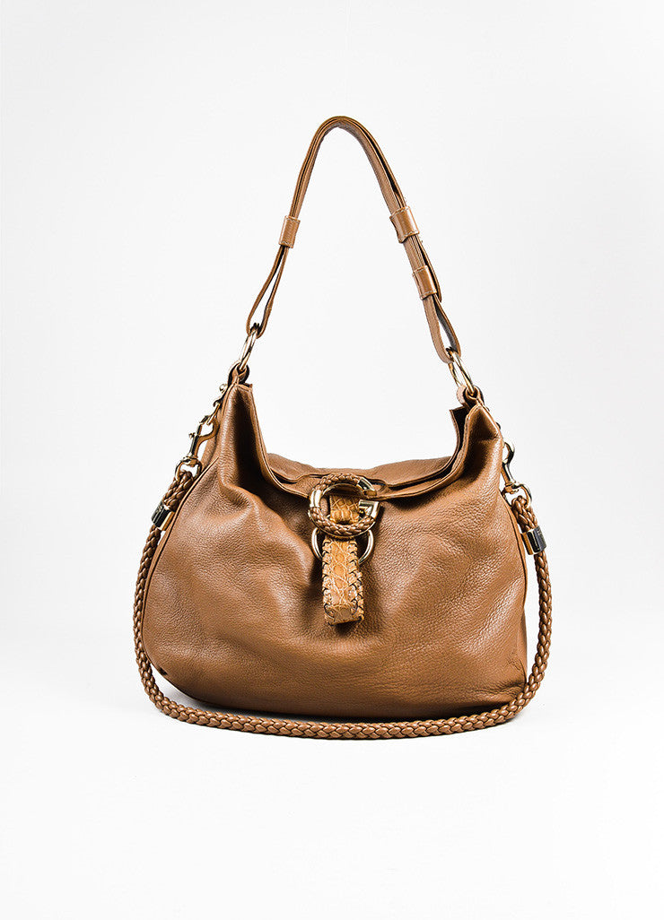 "Gucci Brown Leather Python Trim Braided Strap ""Large G Wave"" Hobo Tote Bag Frontview"