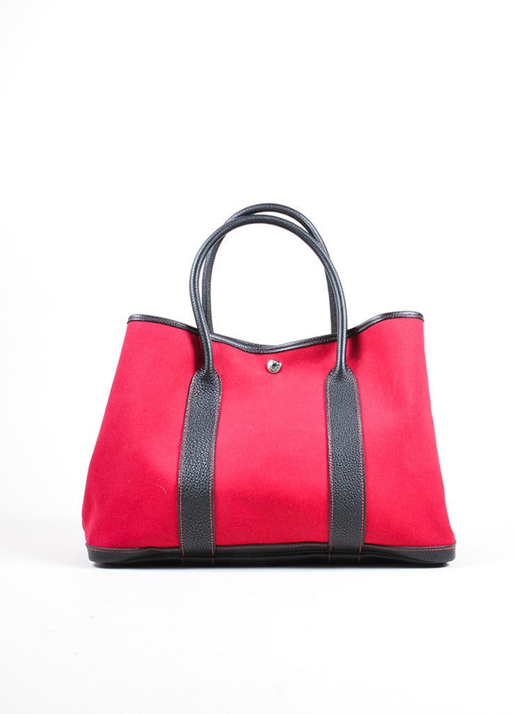 "Hermes Red and Black Canvas Negonda Leather ""Garden Party GM"" Tote Bag Frontview"