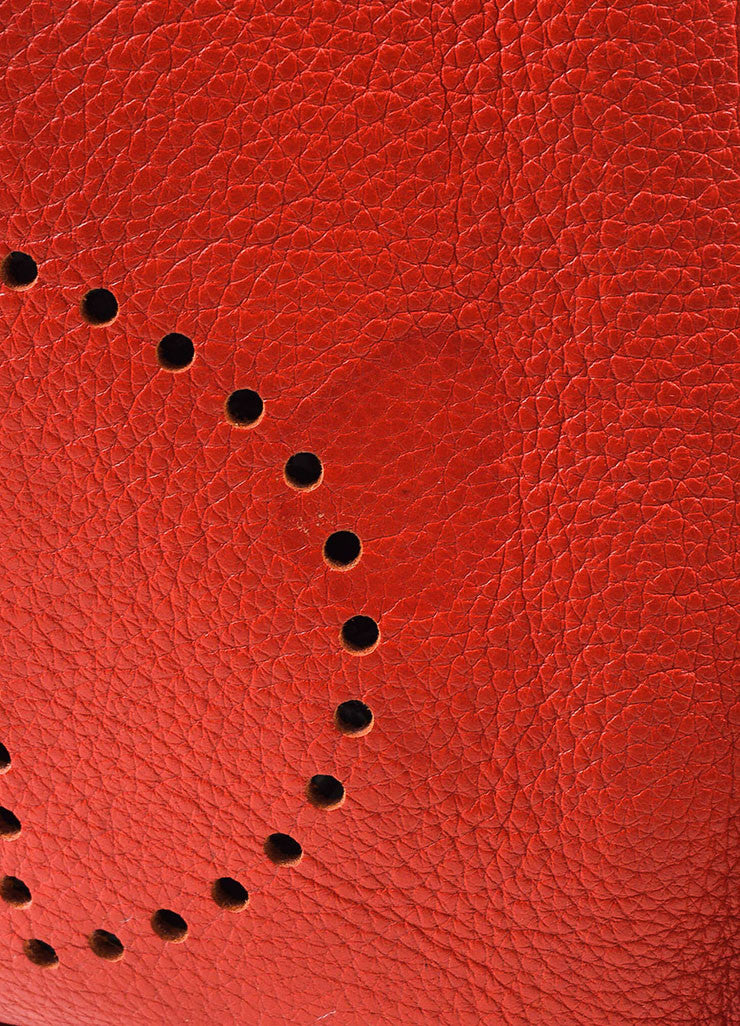 "Hermes Red Clemence Leather Canvas Strap ""Evelyne II PM"" Shoulder Bag Detail 3"