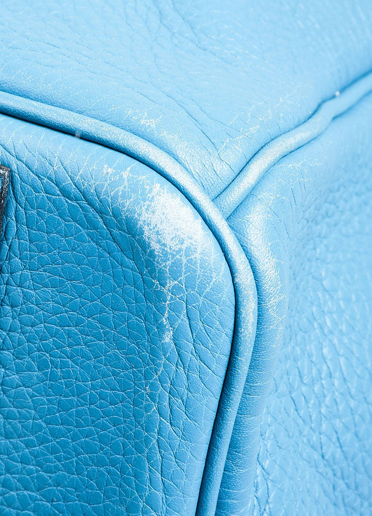 "Blue ""Saint Cyr"" Hermes SHW Leather 50cm ""Birkin"" Bag Detail 1"