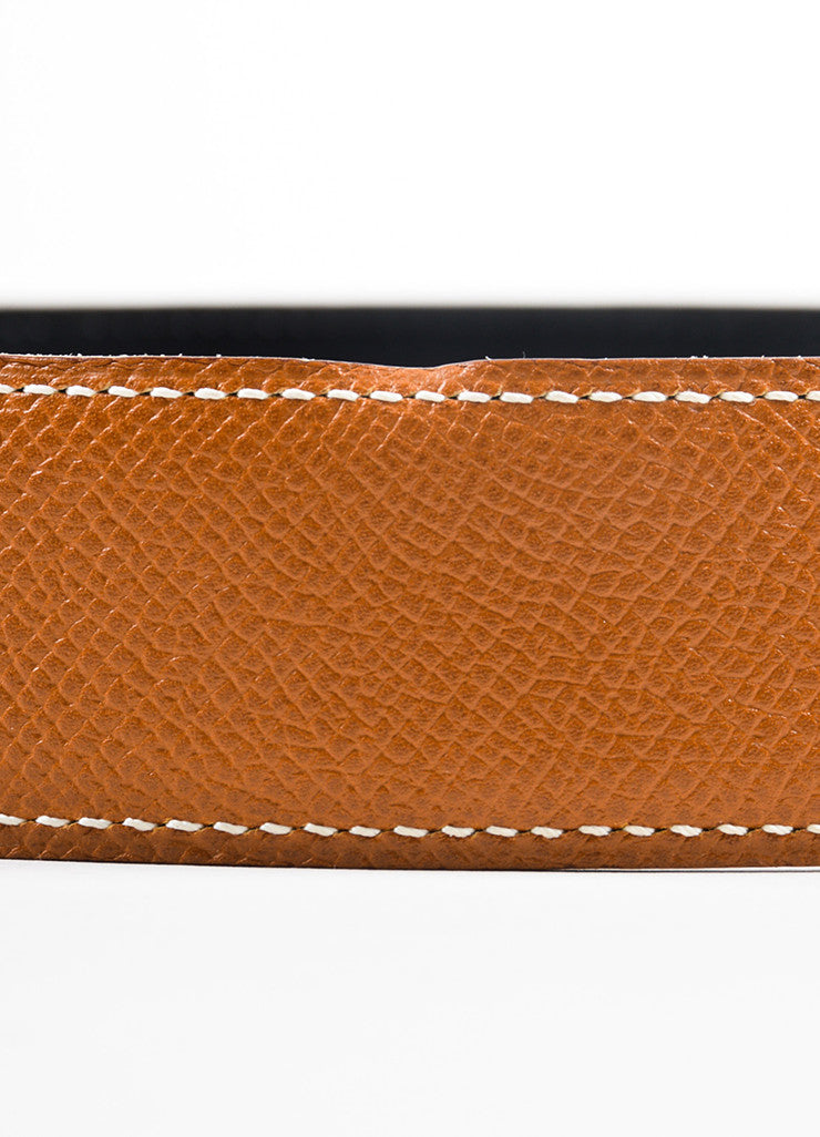 Hermes Tan and Black Leather Reversible No Buckle Belt Detail