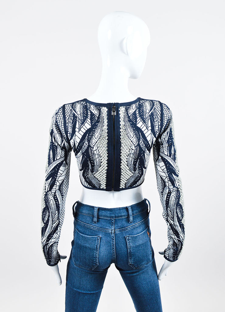 "Navy and White Herve Leger Crystal Printed Stretch Long Sleeve ""Mackenzie"" Crop Top Backview"