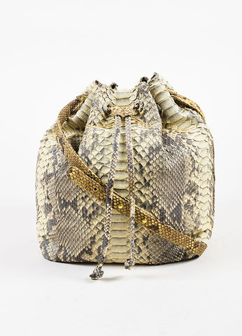Hunting Season Cream and Grey Python Bucket Bag Frontview
