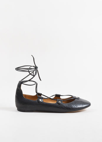 Isabel Marant Black Leather Lace Up Studded Ballet Flats Sideview