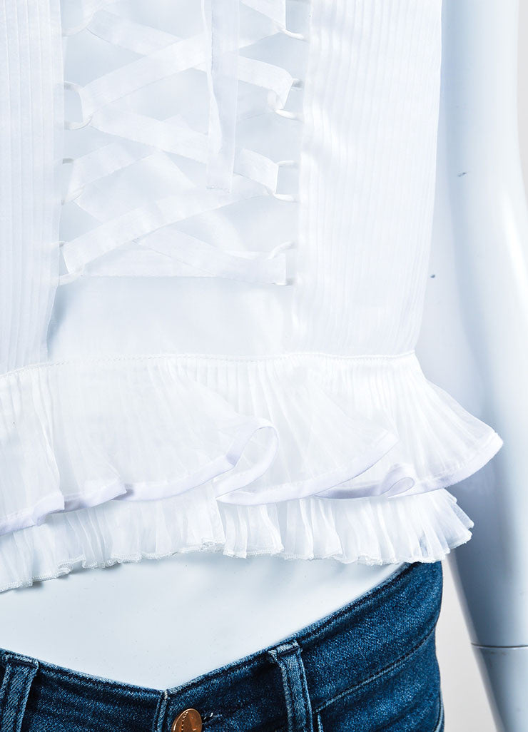 "White Sheer Pleat Laced Ruffle ""Vienna"" Sleeveless Top Detail"