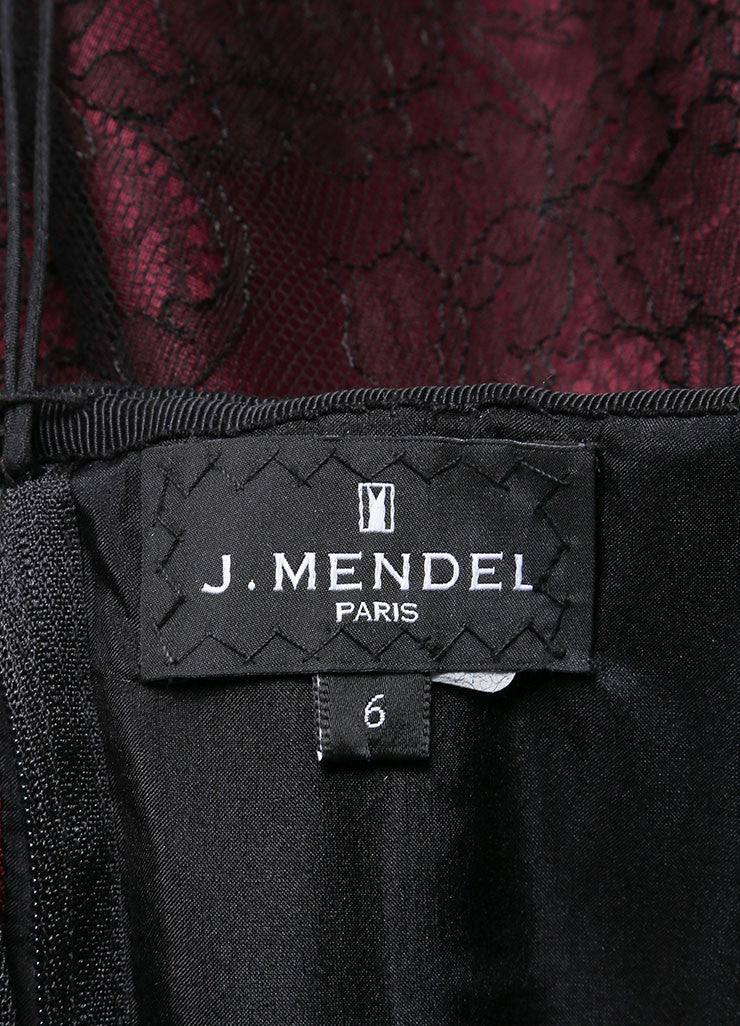 J. Mendel New With Tags Burgundy And Black Silk Metallic Lace Strapless Dress Tag