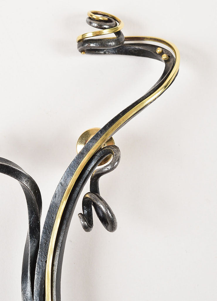 Jaclyn Davidson 14K Gold and Black Carbon Steel Twisted Sculptural Pin Brooch Detail