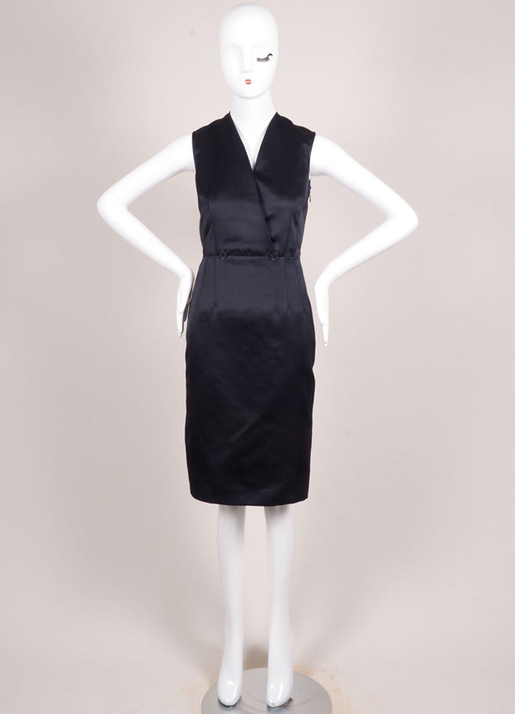Jil Sander Navy Silk Satin Sleeveless V-Neck Sheath Dress Frontview