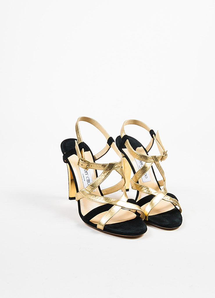 Black and  Gold Metallic Jimmy Choo Suede Leather Two Tone Strap Heel Sandals Frontview