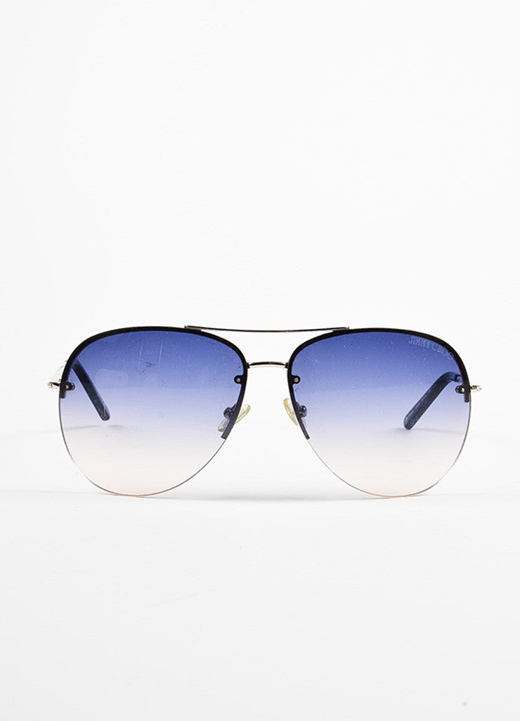 "Jimmy Choo Blue and Silver Toned Gradient Lens Rhinestone ""Fran"" Aviator Sunglasses Frontview"