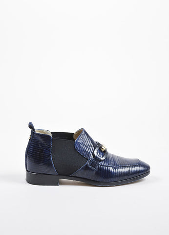 "Jimmy Choo Navy Blue and Black Lizard Embossed ""Metric"" Buckle Loafers Sideview"