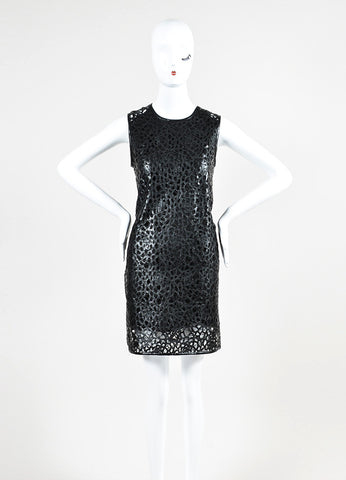 "Karl Lagerfeld Black Faux Leather Laser Cut Out Sleeveless ""Resi Kool"" Dress Frontview"